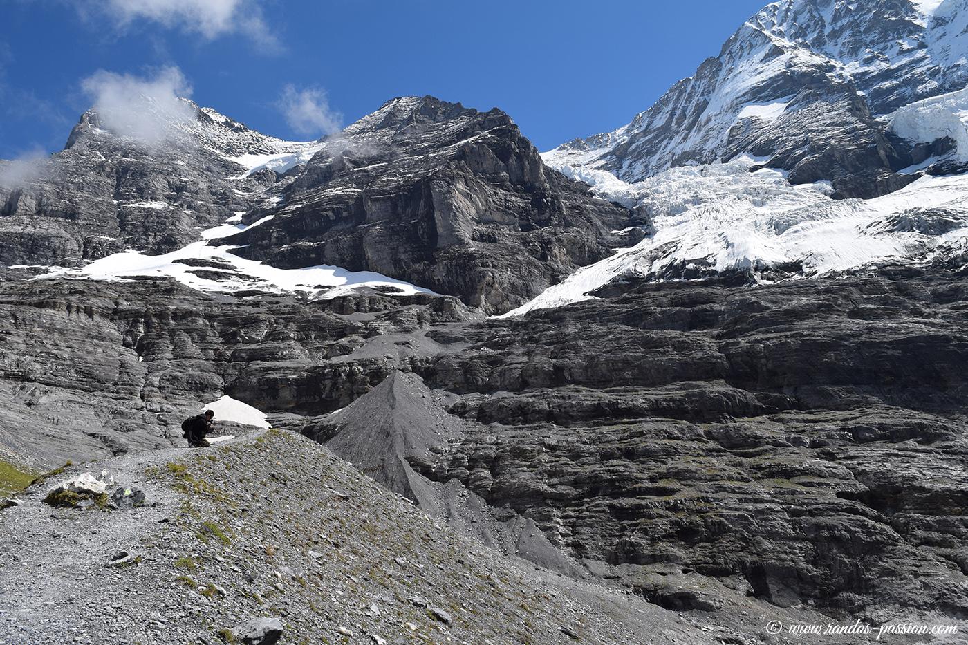 Sur la moraine du glacier Eigergletscher