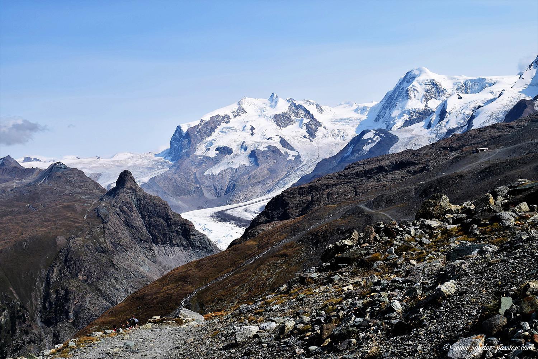 Le Massif du Mont-Rose vu depuis Trokener Steg